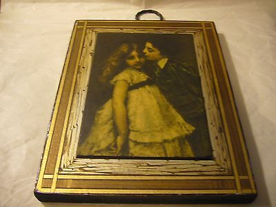 Vintage Painting on Wood of Boy and Girl made in Western Germany