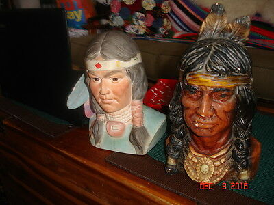 Ceramic Indian Statues Busts Lot of Two Heads Table Top Western Decor Vintage