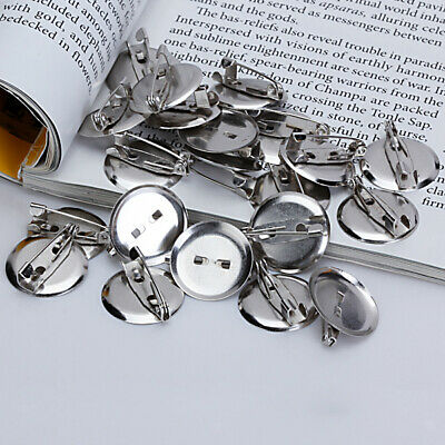 20pcs Silver Iron Brooch Safety Pin Base 19mm Round Pad for Sewn Glue