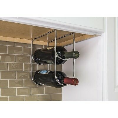 Under Cabinet Wine Bottle Holder in Polished Chrome Cellar Rack Kitchen Bar