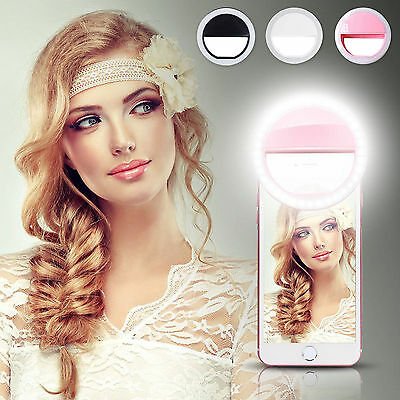 3 Mode Portable Selfie LED Flash Ring Fill Light Camera For iPhone Android Phone