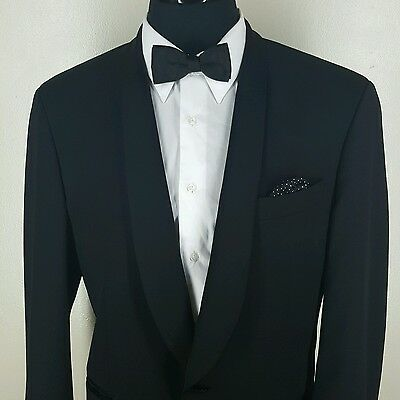 Hugo Boss Thin Shawl Collar Black Wool Dinner Jacket One Button No Vents 42 Long