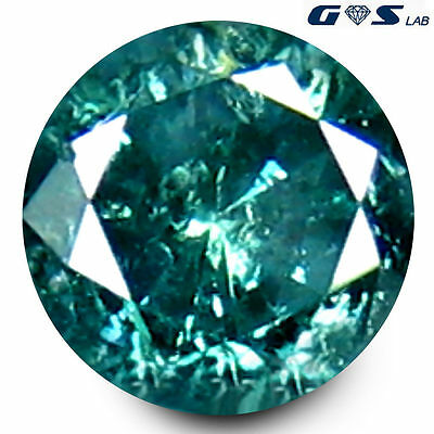 0.35 ct GSL Certified Premium Greenish Blue 4 mm Round Genuine Blue Diamond #28