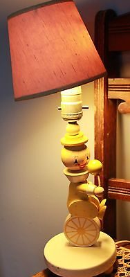 Vintage Nursery Plastics Wooden Dresser Lamp Yellow Clown Unicycle Baby Works