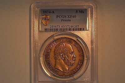 German States: Prussia- 1874-A 5 Mark- PCGS XF-40