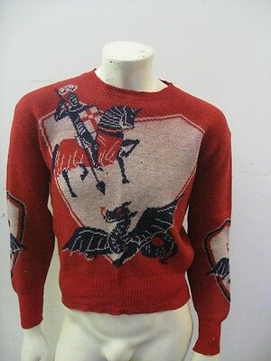 Vintage 1950s Knight Dragon Long Rib Rockabilly Sweater Size SM/MED