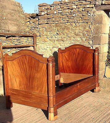 Antique Continental Gothic Style Mahogany Bed