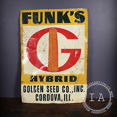 Vintage Funks G Hybrid Advertising Sign Corn Seed Feed