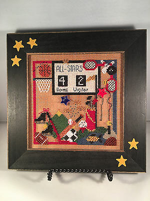 "Finished Framed Beaded Crossstitch All Star Sports 8"" x 8"" Golf Ball Skates"