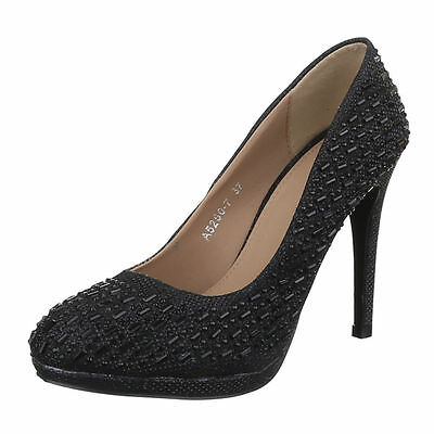 Pumps Damen Schuh TOP Stiletto Sky High Heels Plateau Club Party uoxx Schwarz 36