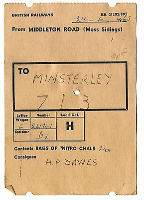 BR Middleton Road Moss Sdgs 1965 wagon label