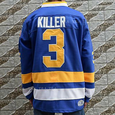 Dave Carlson #3 KILLER Charlestown Chiefs Hockey Jersey Movie Stitched BLUE