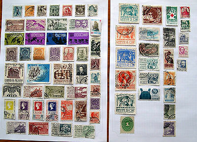 Mexico Stamps Selection on 2 pages Mostly Used & Hinged on Paper Job Lot