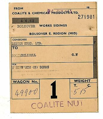 C&CP Bolsover  1963 wagon label