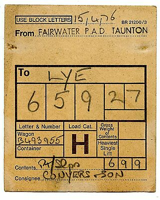 BR Fairwater Taunton to Lye 1976  wagon label