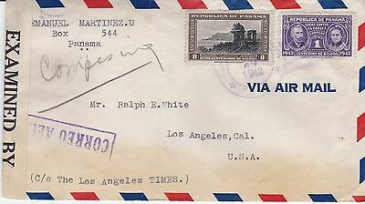 Censored airmail cover, Panama to Los Angeles, 1942, Sc #C75, RA10, short rated?