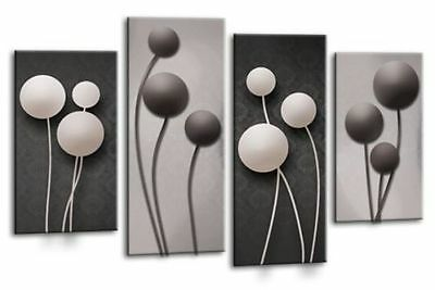 """Large Grey And Black Abstract Floral Canvas Wall Art Picture Split Multi 40"""""""