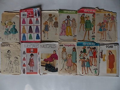 12 40s 50s 60s 70s 80s Childrens Girls Vintage Sewing Pattern Lot 11