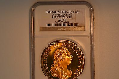 Gibraltar: 1808 (2007) 10R Retro Issue.  Goldine- NGC MS-68