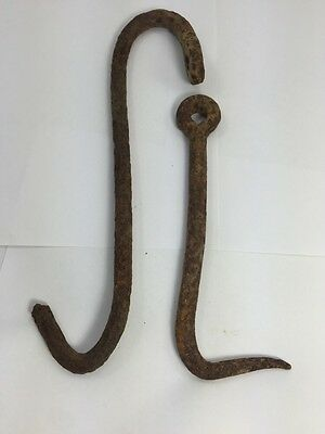 2 antique / Vintage Hand Forged Blacksmith made Hooks, Barn Steampunk Art 1890s