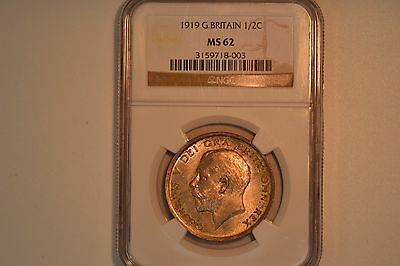 Great Britain: 1919 Half Crown- NGC MS-62.