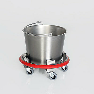 MCM540 Stainless Steel 12qt Kick Bucket w/Rubber Bumper Wall Protector