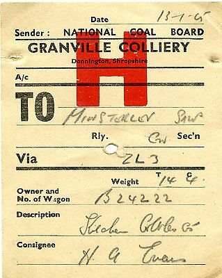 BR - NCB Granville Colliery to Minsterley 1965 wagon label