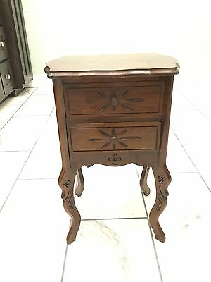 Beautiful French 1930's - 1940's Walnut Inlaid  Nightstand /end Table W/ Drawers