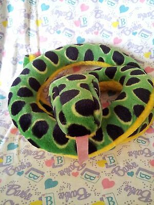 Wild Republic Green Black Spotted Yellow Belly Coiled Snake Plush - K&M