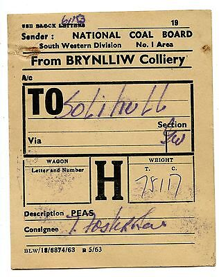 BR - NCB Brynlliw Colliery to Solihull 1953 wagon label
