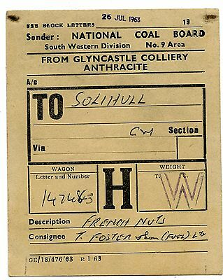 BR - NCB Gylncastle Colliery to Solihull 1963 wagon label
