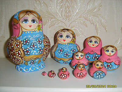 10pcs Wooden Russian Nesting Babushka Hand Painted Blue Dolls