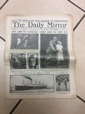 Daily Mirror Newspaper Complete Date Monday September 22nd 1919
