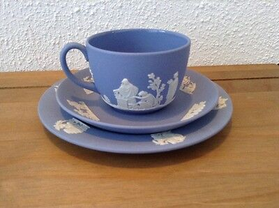 WEDGWOOD JASPER WARE BLUE TRIO tea cup saucer and tea plate ex condition
