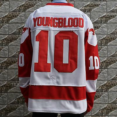 Dean Youngblood #10 Mustangs Rob Lowe Movie Hockey Jersey Stitched M-3XL