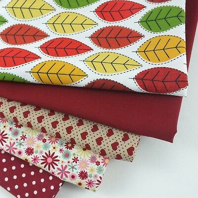 100% COTTON Fabric Red Material Sewing Quilting Craft METRE & FAT QUARTER BUNDLE