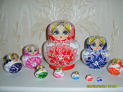 10pcs Colourful Wooden Russian Nesting Babushka Hand Painted Dolls