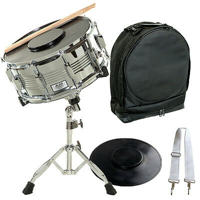 AM Student Chrome Snare Drum Set with Case, Sticks, Stand and Practice Pad Kit