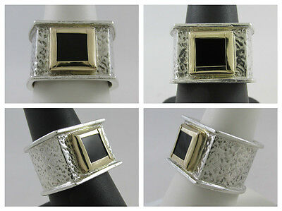 Bold Handmade 14Kt Yellow Gold & Sterling Silver Black Onyx Ring