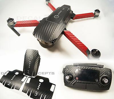 DJI Mavic Carbon Fiber Full Graphic Wrap kit with RED Arms - Decal Skin Pro