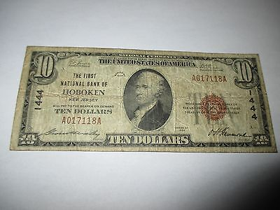 $10 1929 Hoboken New Jersey NJ National Currency Bank Note Bill Ch. #1444