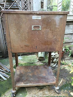 Vintage Industrial Metal Cabinet/ Bedside Table