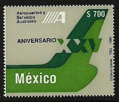 Mexico 1990 Aviation Aircraft Airports Auxiliary Services Set Mnh