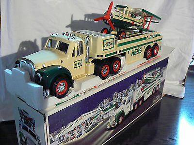 Lighted 2002 HESS TOY TRUCK w/MOTORIZED AIRPLANE. Tested. Working. Original box