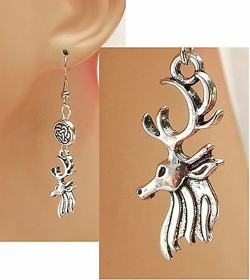 Silver Celtic Stag Charm Drop/Dangle Earrings Handmade Jewelry Hook Accessories