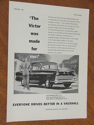 1958 Vauxhall Victor original UK full page advertisement