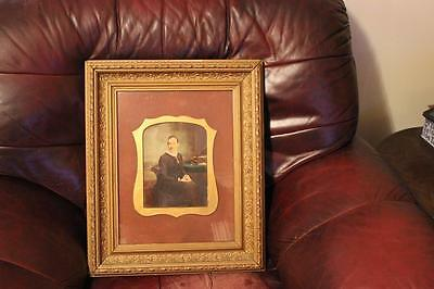 Large Victorian Overpainted Portrait Photograph Of A Seated Lady Framed & Glazed