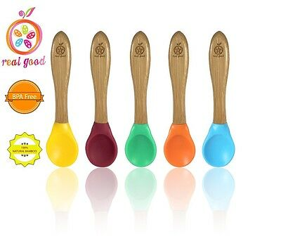 1 Set Of 5 Bamboo Baby Silicone Spoons. 5 Different Colors. Soft. BPA-Free. 6m+