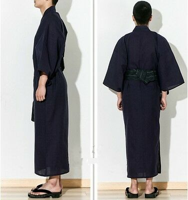 Men Kimono Yukata Cotton Japan Tradition Bathrobe Robe Gown 3/4 Sleeve Sleepwear