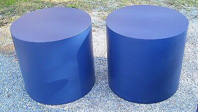 Vintage Mid Century Modern Cylinder Round End Tables/stands - Pair- In Blue!